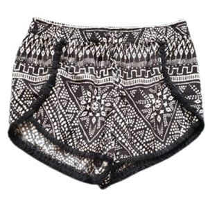 Black & white fringed shorts